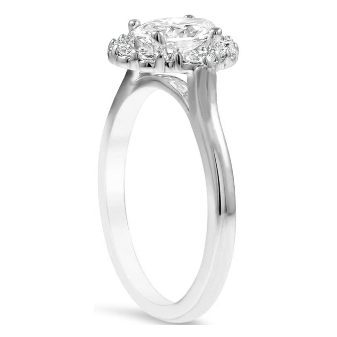 Oval Halo Three Stone Diamond Cathedral Engagement Ring