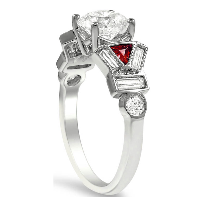 Multi Shape Diamond & Ruby Engagement Ring