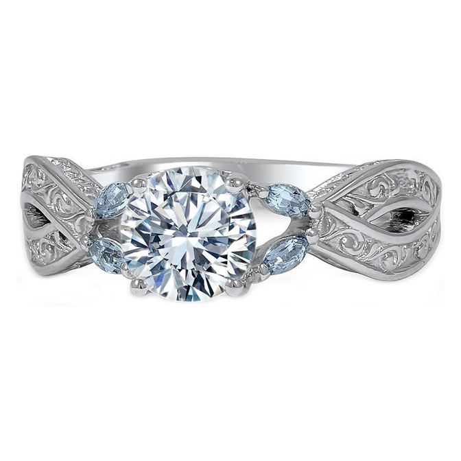 Aquamarine Vine Engagement Ring with Engraved Band