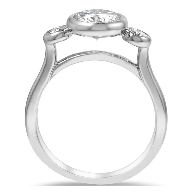 Classic Three Stone Bezel Cathedral Diamond Engagement Ring
