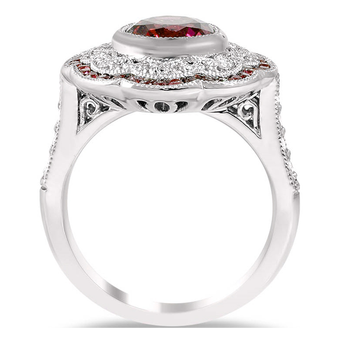 Large Halo Diamond & Ruby Art Deco Engagement Ring