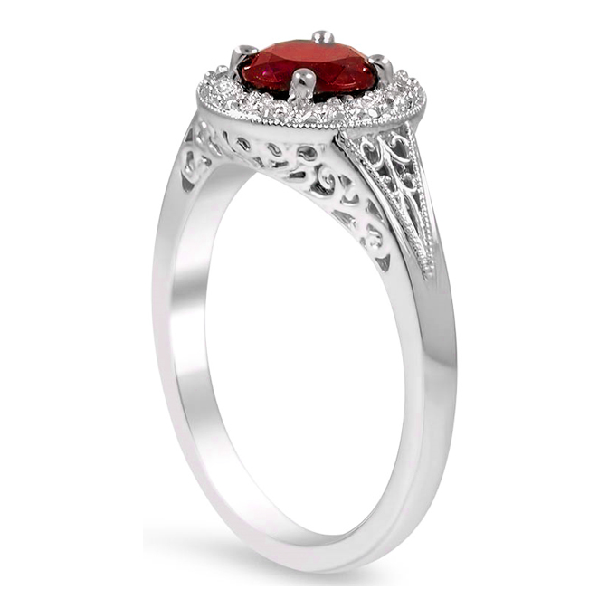 Petite Halo Diamond Engagement Ring with Filigree Band