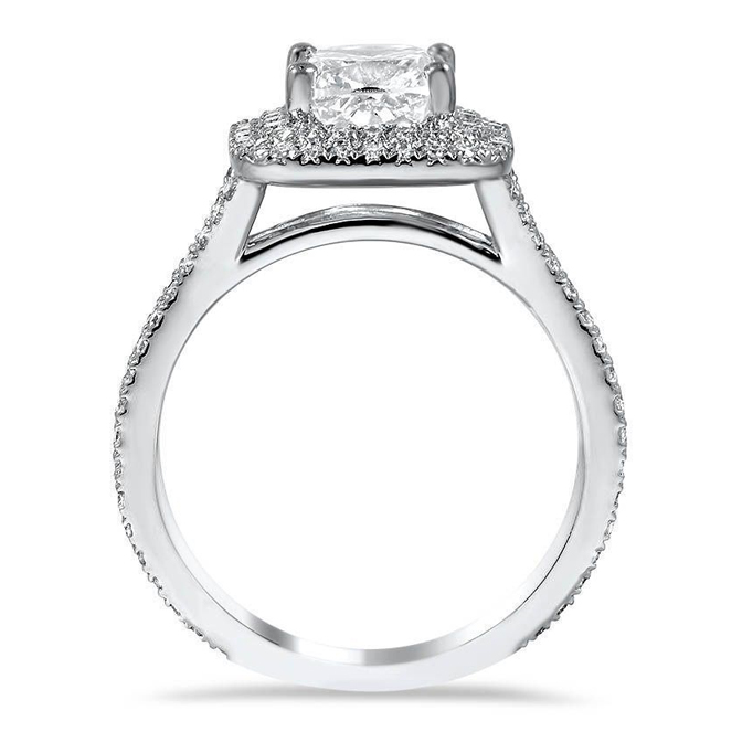 Double Cushion Halo Diamond Engagement Ring with Split Band