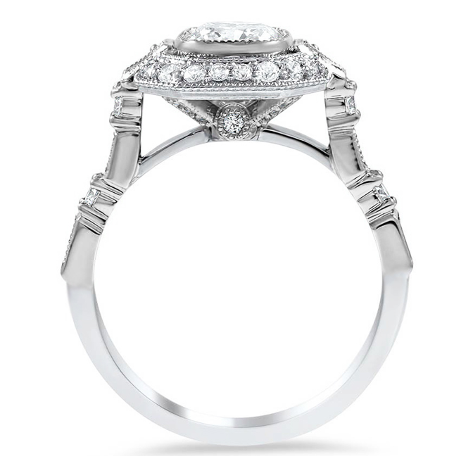Vintage Octagon Diamond Halo Engagement Ring with Milligrain