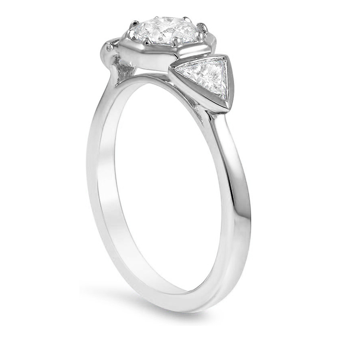 Bezel Set Three Stone Diamond Engagement Ring