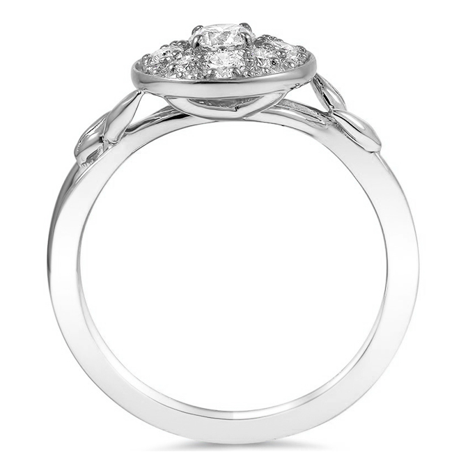 Halo Diamond Vine Engagement Ring