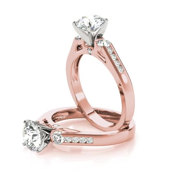 Three Stone Diamond Bridal Set in Rose Gold