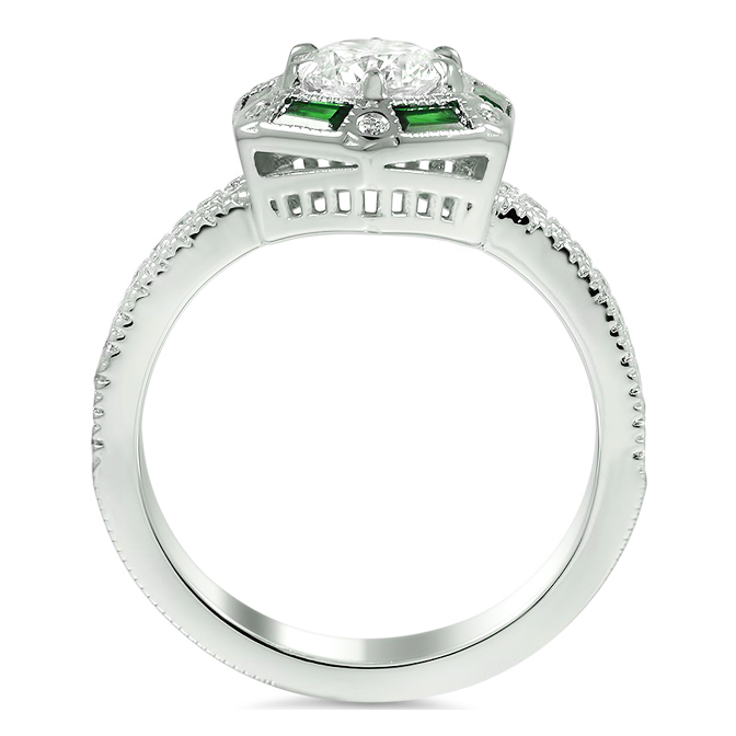 Hexagon Halo Diamond & Emerald Engagement Ring
