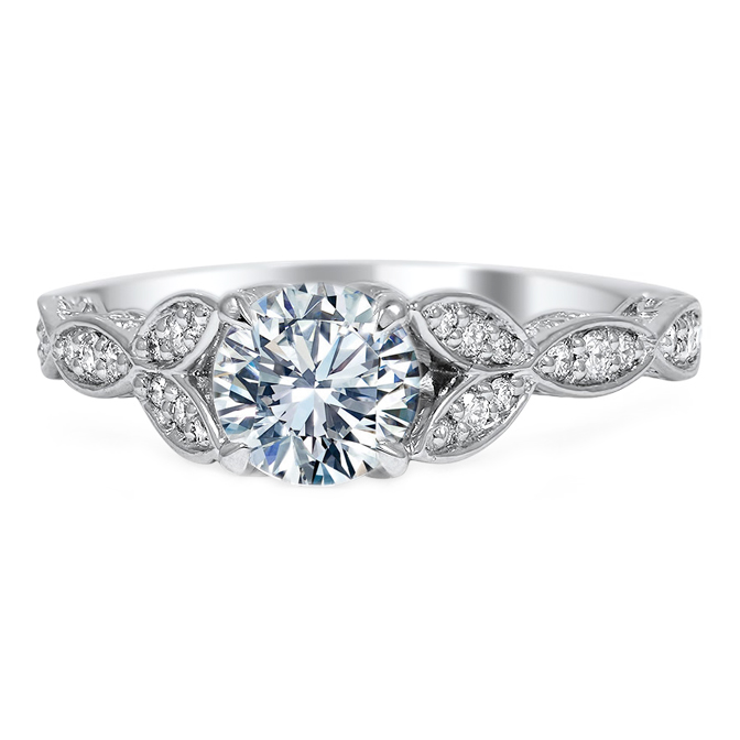 Floral Swing Diamond Engagement Ring with Engraved Band