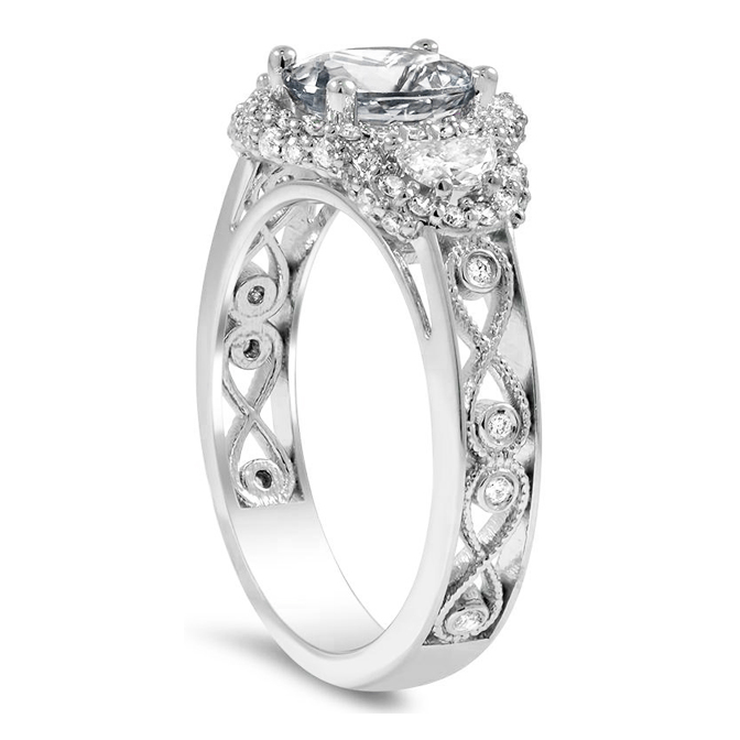3 Stone Oval Half-Moon Halo Engagement Ring Infinity Filigree