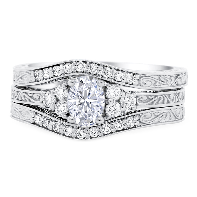 Oval Triple Ring Diamond & Engraved Bridal Set
