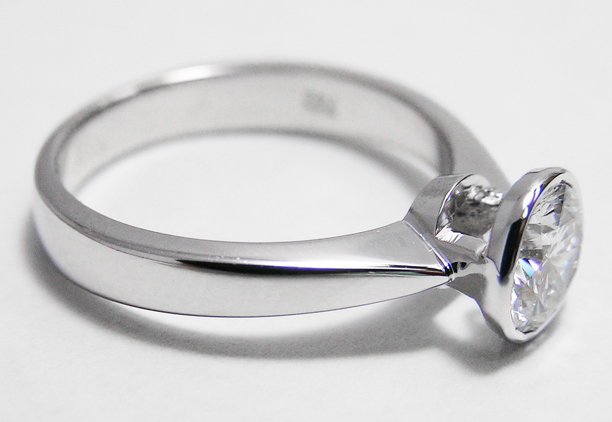 Solitaire  Bezel Tapered Contour Diamond Engagement Ring