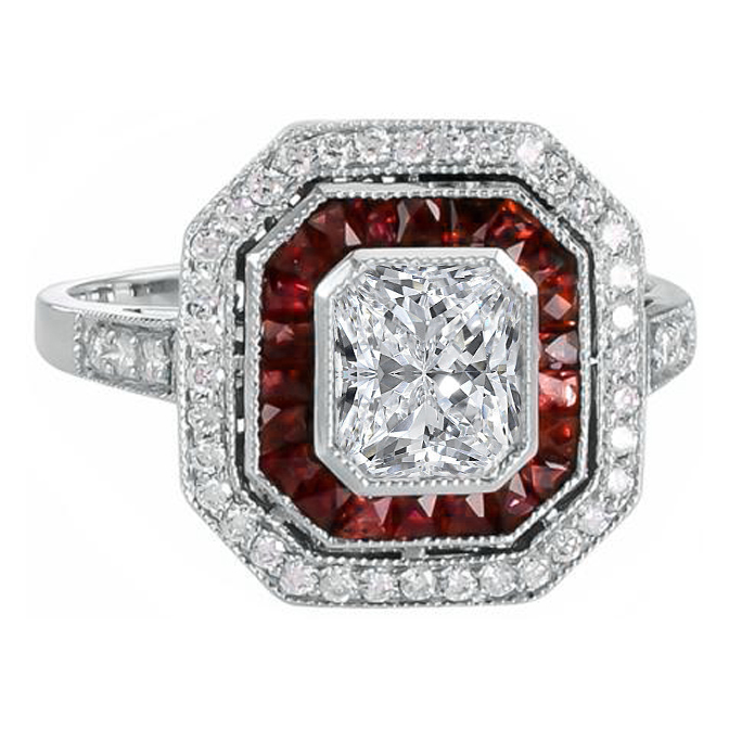 Double Halo Diamond & Ruby Art Deco Engagement Ring