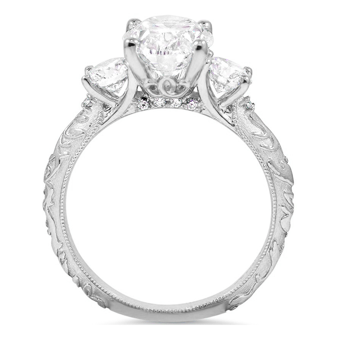 Three Stone Oval & Round Diamond Engagement Ring with Engraved Band
