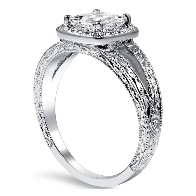 Halo Diamond Engagement Ring with Engraved Split Band