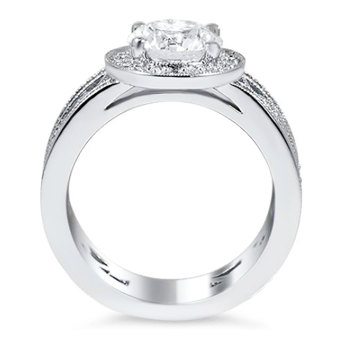 Diamond Halo Engagement Ring with Vine Design Wide Band