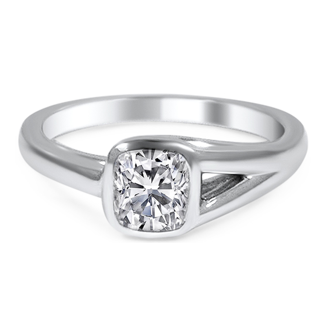 Bezel Solitaire Diamond Engagement Ring with Split Band Side