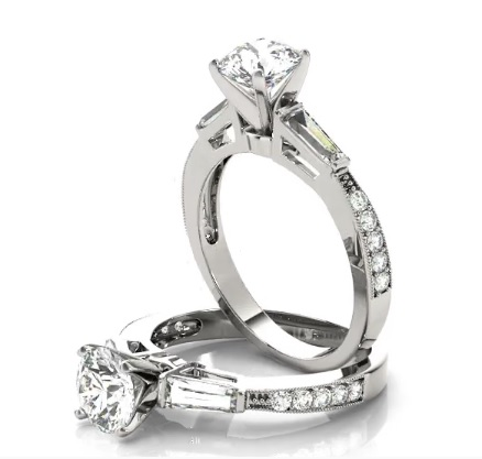 Diamond Engagement Ring with Baguette & Pave Diamonds
