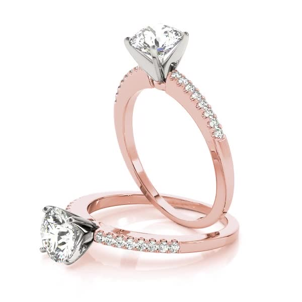 Classic Petite Diamond Bridal Set in Rose Gold