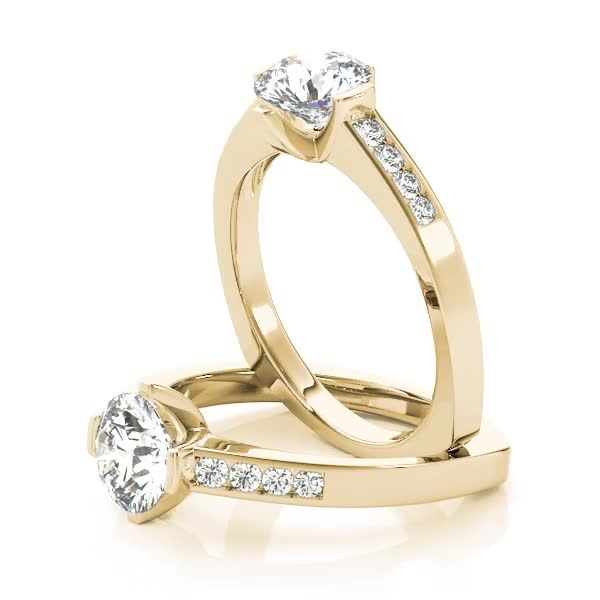 Diamond Channel Set Engagement Ring with Square Band Yellow Gold