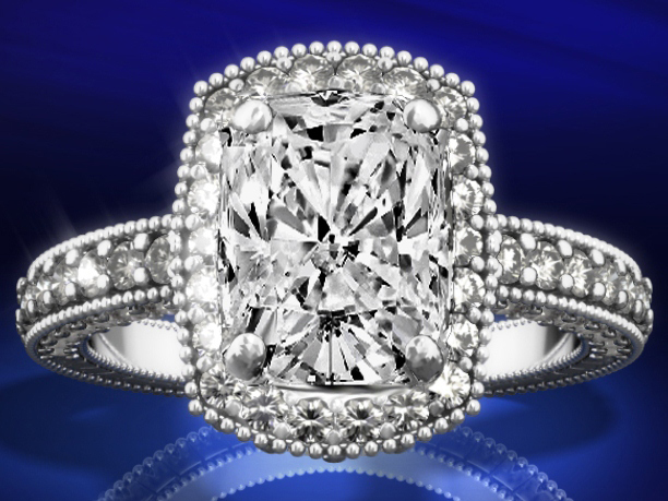 Tonnaeau Cushion Diamond Engagement Ring, 1 tcw