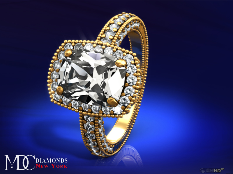 Tonnaeau Cushion Diamond Engagement Ring in 14 Karat Yellow Gold, 1 tcw