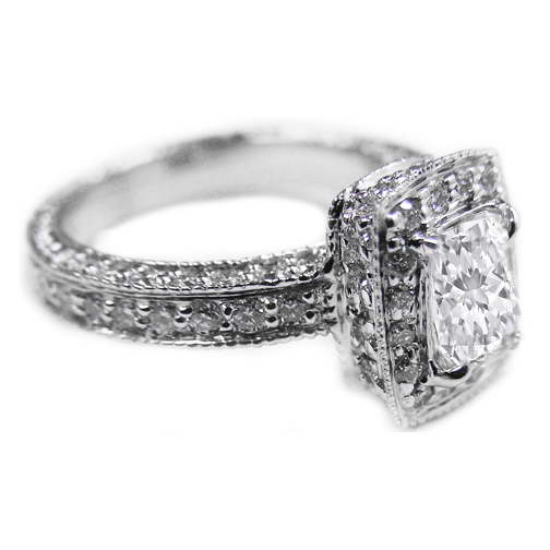 Halo Pave Radiant Diamond Vintage Engagement Ring, 0.71 tcw.