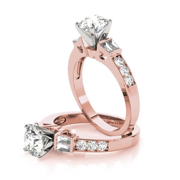 Diamond Bridal Set with Double Baguettes & Pave Diamonds in Rose Gold