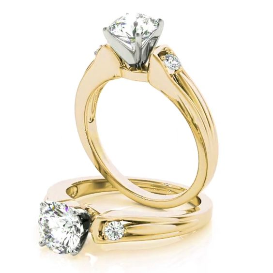 Petite Three Stone Diamond Engagement Ring in Yellow Gold