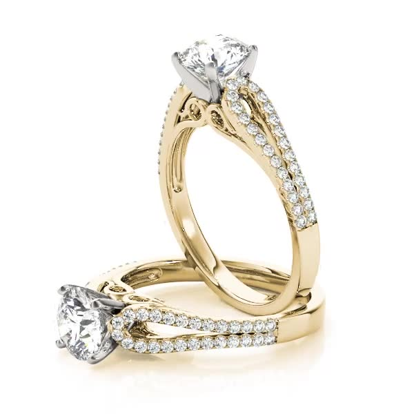 Petite Diamond Engagement Ring with Horseshoe Split Band Yellow Gold