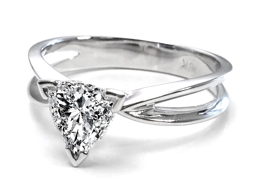 Trillion Diamond Solitaire Concave Engagement Ring