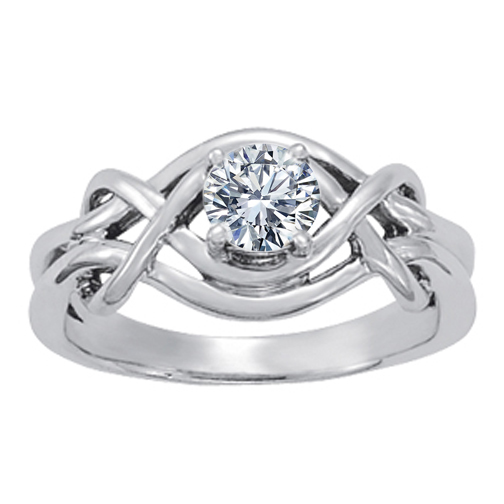 Split Band Solitaire Love Knot Diamond Ring, 0.25ct