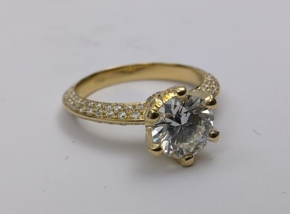 Novo Pave Set Knife Edge Diamond Engagement Ring Yellow Gold