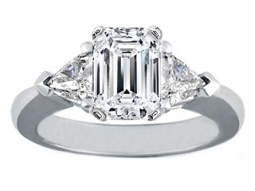 Engagement Ring with Trillion Diamond Accents Like Paris Hilton 0.40 tcw.