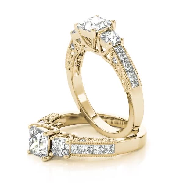 Three Stone Vintage Princess Diamond Engagement Ring, Anniversary Ring Yellow Gold