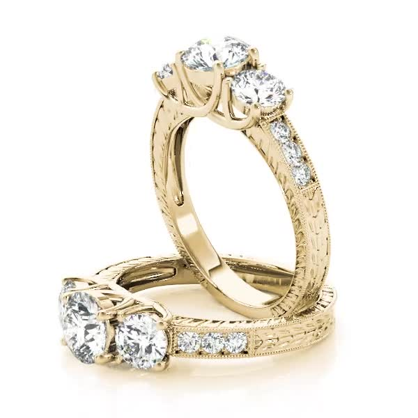 Three Stone Vintage Diamond Engagement Ring, Anniversary Ring Yellow Gold