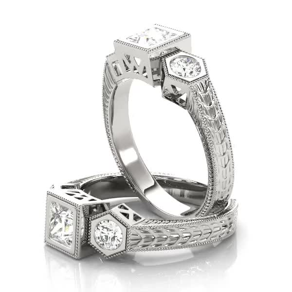 Three Stone Vintage Diamond Engagement Anniversary Ring