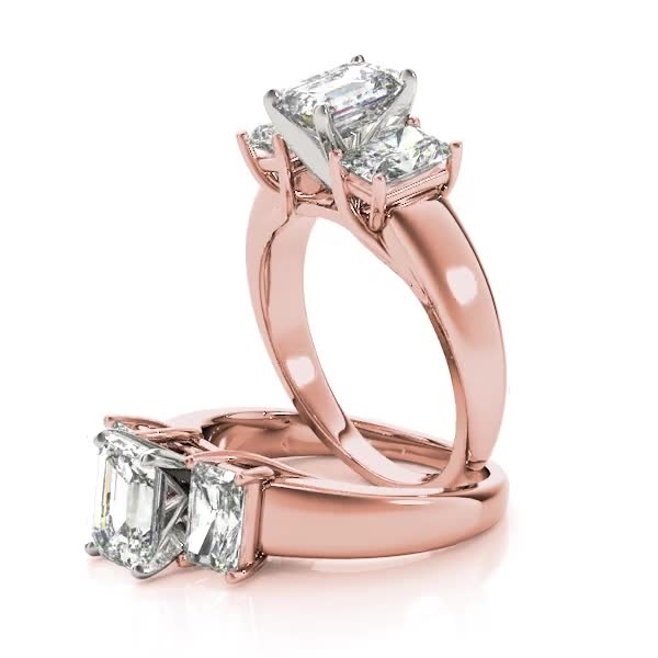 Three Stone Diamond Trellis Engagement Ring in Rose Gold