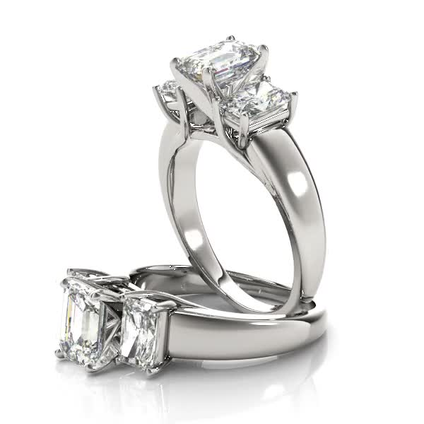 Three Stone Diamond Trellis Engagement Ring