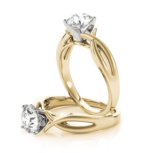 Cathedral Fish Engagement Ring Yellow Gold
