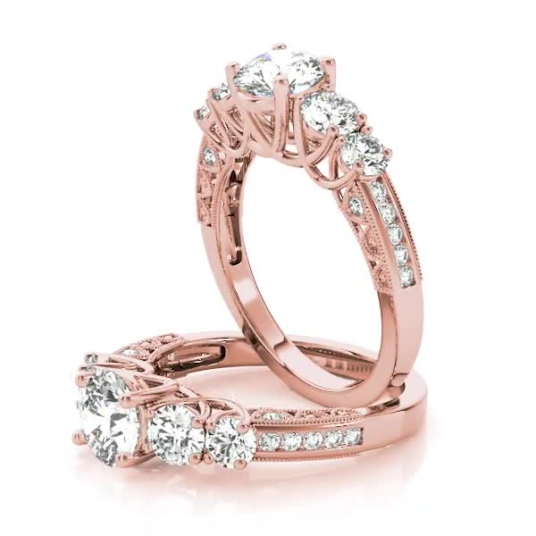 Vintage Five Stone Diamond Trellis Engagement Ring in Rose Gold