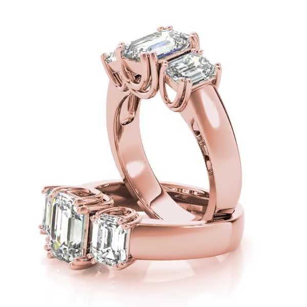 Three Stone Emerald Cut Diamond, U prongs Anniversary Ring