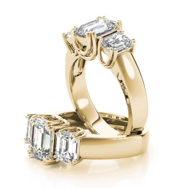 Three Stone Emerald Cut Diamond, U prongs, Anniversary Ring