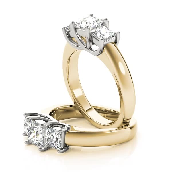 Classic Three Stone Trellis Princess Cut Diamond Ring in Two-Tone