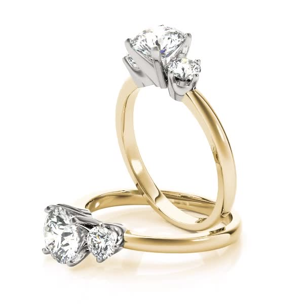 Three Stone Petite Diamond Engagement Ring Yellow Gold
