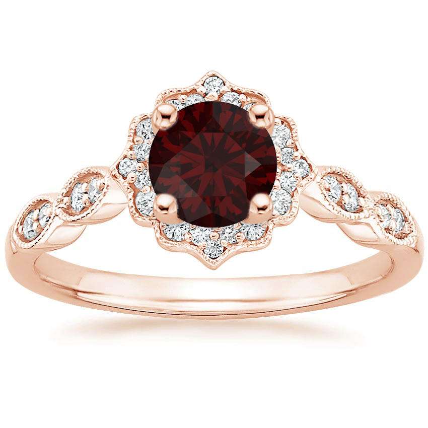Round Cut Garnet Swing Halo Diamond Engagement Ring in Rose Gold