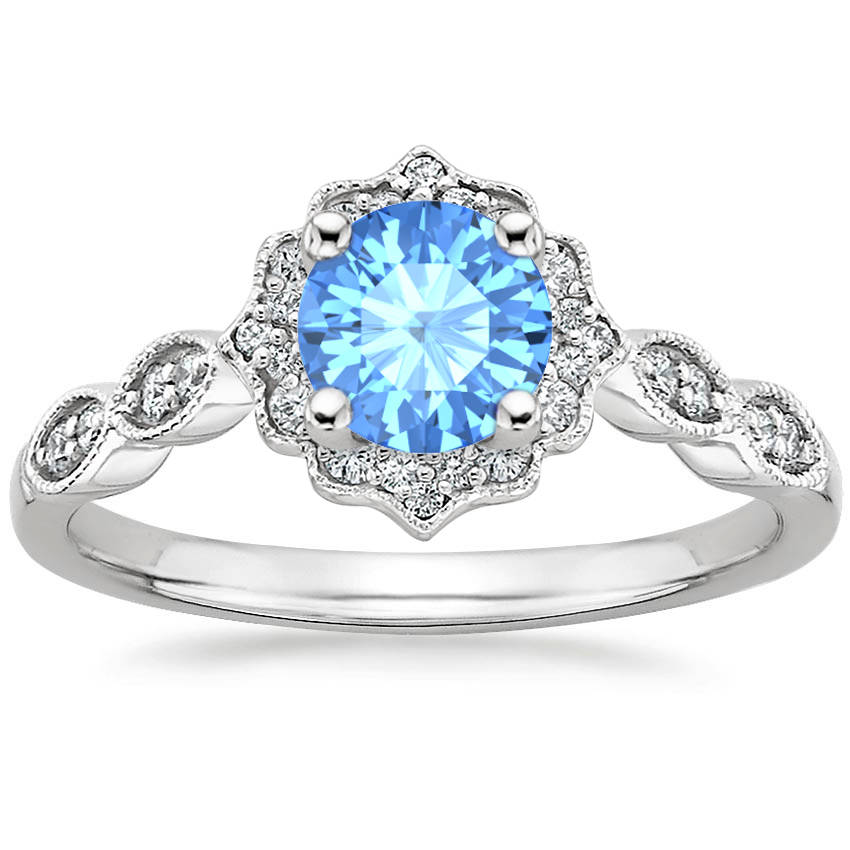Round Cut Blue Topaz Swing Halo Diamond Engagement Ring