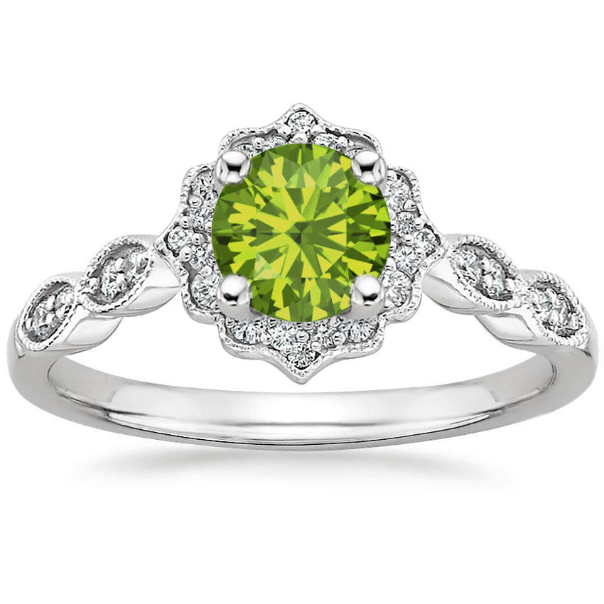 Round Cut Peridot Swing Halo Diamond Engagement Ring