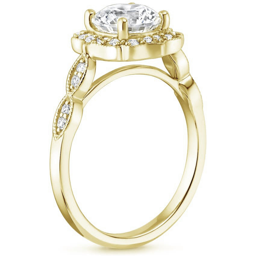 Swing Halo Diamond Engagement Ring in Yellow Gold