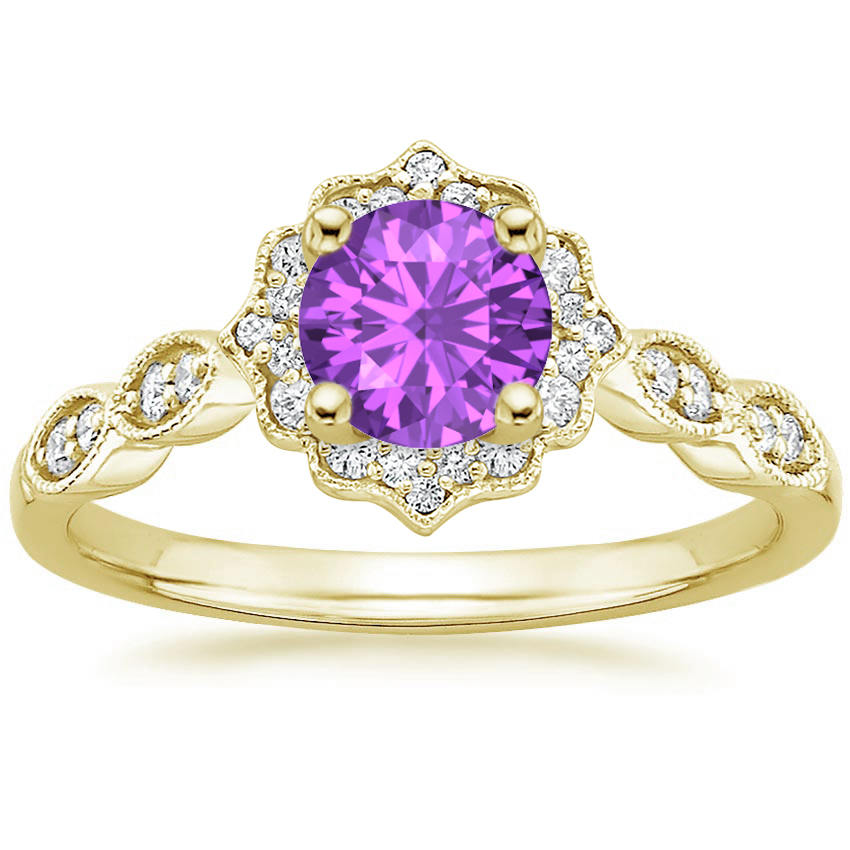 Round Cut Amethyst Swing Halo Diamond Engagement Ring in Yellow Gold